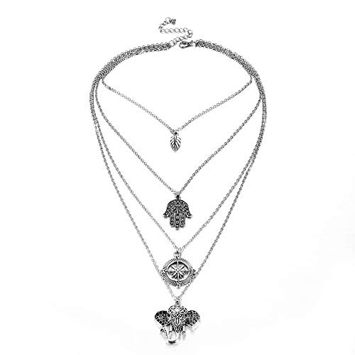 Design Halskette Multilayer Halskette Retro Blätter Palmen Kompass Elefant Perlen Maskerade Zubehör von Drittanbietern ()