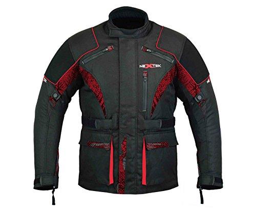d Gears Motorrad Jacke in Cordura Gewebe CE-geprüft Rüstung - Lange Sublimationsdruck - Schwarz & Rot Gr. Large, rot ()
