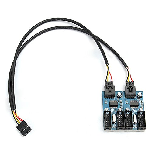Rokoo 9 Pin USB Header Stecker 1 bis 4 Weibliche Extender Kabel 9 P USB2.0 Port Multiplier HUB (Usb-3-port-extender)
