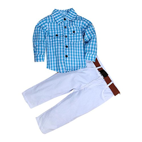 Clode® for 2-8 Years Old Boys, 1Set Kids Baby Boys Long Sleeve T-Shirt Tops+Trousers+Belt Clothes Outfits