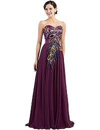 Lea Amalia Vestido de noche con plumas de pavo real para Mujer