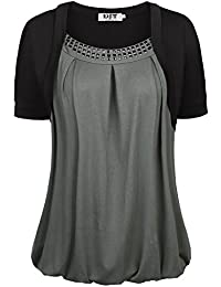DJT Damen Rundkragen Tunika Sommer Faux Twinset T-Shirt