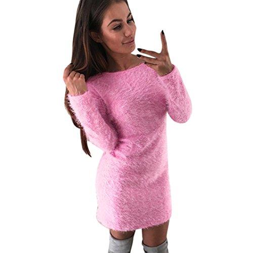 Tefamore-Femmes-hiver-manches-longues-chandail-solide-molleton-chaud-base-mini-robe-courte