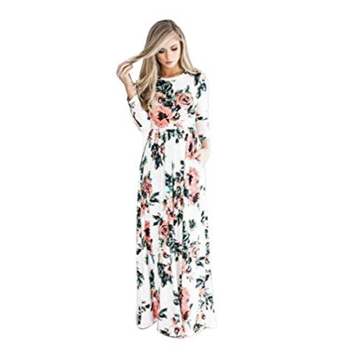 robe femme, Transer ® Femmes Vintage Floral imprimé Boho Long manches robe soirée robe Maxi longue avec poche Blanc
