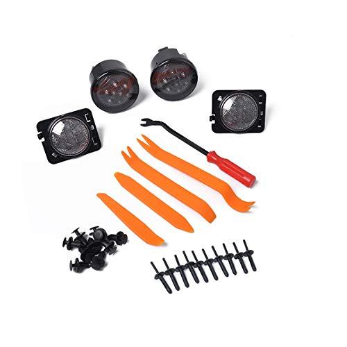 Amyove Indicatori di direzione a LED Ambra. Lente fumogena + parafango per Faro Laterale per Jeep Wrangler JK