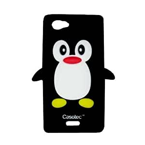 Casotec Penguin Silicone Jelly Back Case Cover for Sony Xperia J ST26i - Black