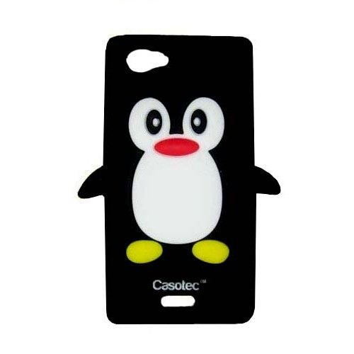 Casotec Penguin Silicone Jelly Back Case Cover for Sony Xperia J ST26i - Black  available at amazon for Rs.125