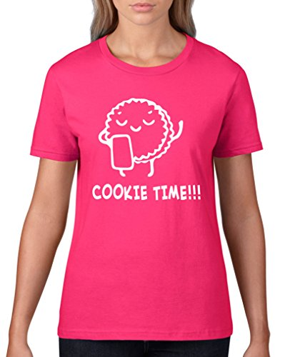 Comedy-Shirts Cookie Time! Keks - Damen T-Shirt - Sorbet/Weiss Gr. XL (Cookie-gelb T-shirt)