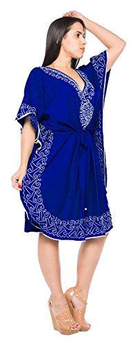 La Leela Les bikini des femmes brod�es couvrent beachwear maillot de bain dresss occasionnel Bleu