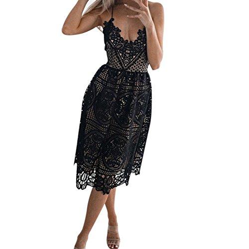 Modely Formale Abschlussball Partei Brautjungfer Hochzeits Ballkleid Cocktailkleid der Frauen Sommerkleid Spitze Kleid Damen Cocktailkleid Festlich Partykleid Ärmellos Knielang (M, schwarz) Neckholder Formale
