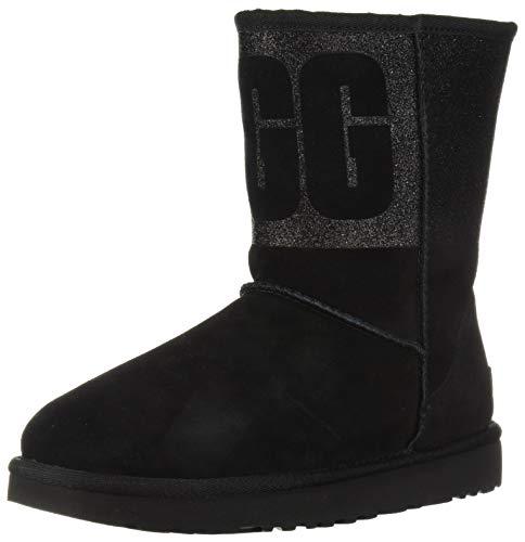 UGG Women's W Classic Short Sparkle Fashion Boot, Black, 5 M US,36 EU,  Schwarz