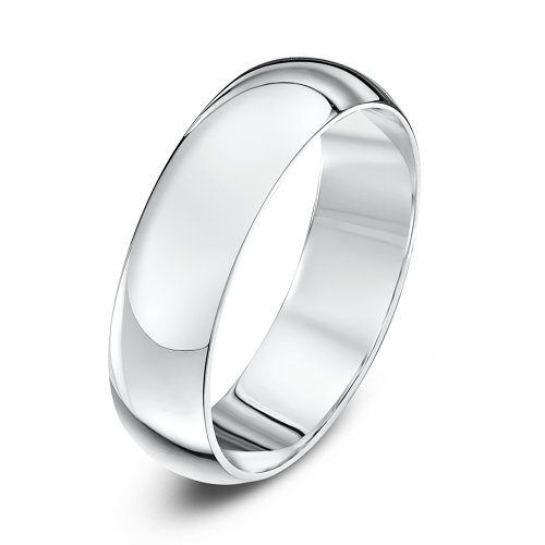 Theia Platinum Super Heavy D Shape - Highly Polished 5mm Wedding Ring for Men or Women - Size R
