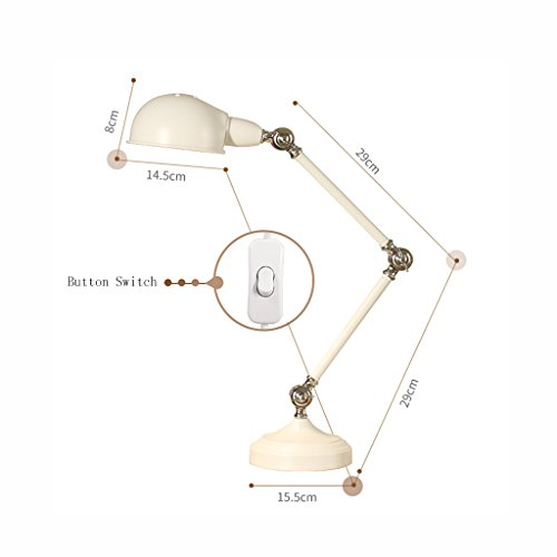 Best wishes shop tischleuchte- Einstellbare Lesen Studie Schreibtisch Tischlampe Vintage Nachttischlampe Executive Office Schreibtisch Lampe Dekorative Lichter E27 ( Farbe : Weiß ) (Weiß Executive-schreibtisch)