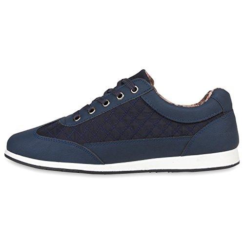 Herren Sneakers Gesteppt | Denim Sportschuhe | Sneaker Low | Turnschuhe Schnürer |Freizeit Schuhe Leder-Optik Dunkelblau