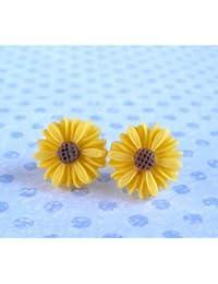 TOOGOO(R) Estilo lindo del vintage de la margarita linda Pequena Flor Stud nueva - amarillo