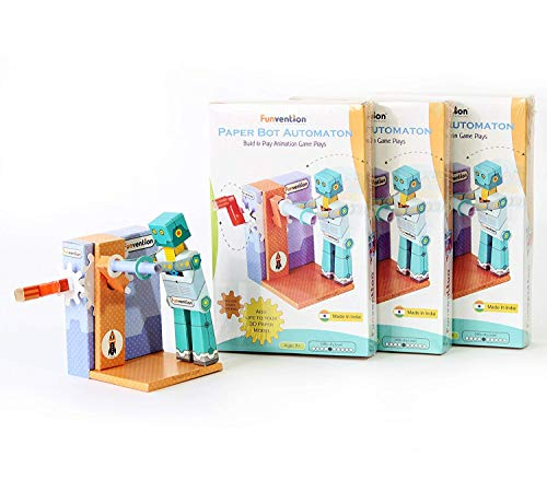 Funvention Paper Bot Automaton 3D Animation DIY Puzzle Toy Kit - Pack of 3