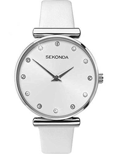 Sekonda Editions Montre à cadran argenté avec bracelet en cuir blanc pour femme 2469