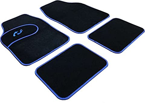 XtremeAuto® 4 Piece Blue Foot Print Logo Carpet Car Mats With Border - Includes XtremeAuto Sticker