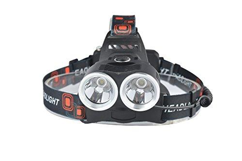Genwiss 2 x CREE XM-T6 LED Aluminiumlegierung Kopflampe Fackel Scheinwerfer Taschenlampe 6000 Lumen 3 Modi Super T6 für Camping Radfahren (zählen 2 x 5000mAh Batterie 18650 + Charger + Car Charger)
