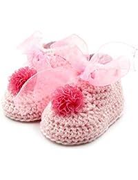 Magic Needles Autumn Winter Woolen Handmade Turkish Yarn Hand Knit Crochet Baby Ankle Boots (6-12 mths Toe to Heel 12 cms, 4215 Baby Girls Pink)