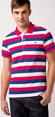 Lacoste Short Sleeve Bold Stripe Pique Polo Ph1409-51 Pink