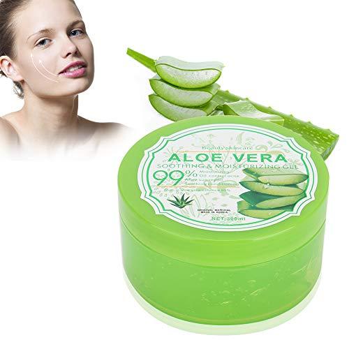 Bio-Aloe-Vera-Gel - feuchtigkeitsspendend für Gesicht und Körper, spendet beschädigte Haut, ideal für trockene und gestresste Haut und Sonnenbrand, Akne, 300 g -