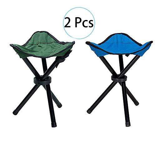 HPiano Taburete Plegable de Camping 2 pcs, Trípode Plegable Taburete, Taburete Compacto al Aire Libre, 3 Patas Silla Fuerte Asiento Plegable Taburete para Acampar Portátil para Pesca Camping