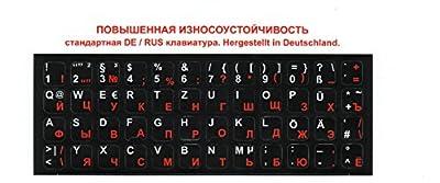 Russische Tastatur-Aufkleber für PC, Laptop, Computer-Tastaturen Tastaturen (schwarz Etiketten, rot / weiße Buchstaben) ??????? ???????? Russische Tastaturaufkleber