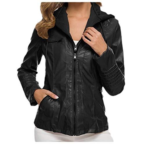VITryst Women's Plus-Size Bomber Hoodie Pu Leather Zipper Jackets Short Coat Black S (Trench Leather Black Coat Womens)