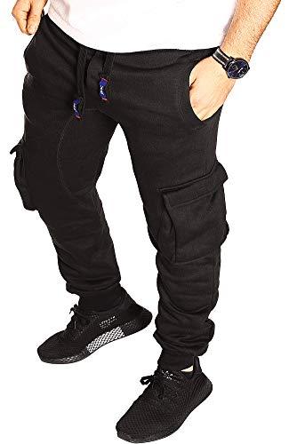 RMK Herren Hose Jogginghose Trainingshose Fitnesshose Sweatpants Uni Einfarbig (L (fällt aus: M), Schwarz (H.02A))