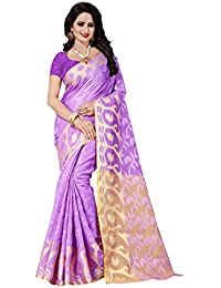 FAB BRAND Self Design Cotton Silk Lownder Color Saree For Women With Blouse Piece
