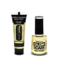 """PaintGlowâ""""¢ Glow in the dark Cosmetic Box Set Halloween Party Invisible for Body, face and nails"""
