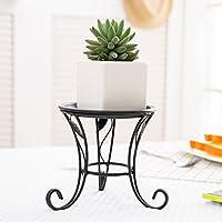 MyGift 5-Inch Black Iron Scrollwork Design Desktop Plant Stand, Tabletop Pillar Candleholder
