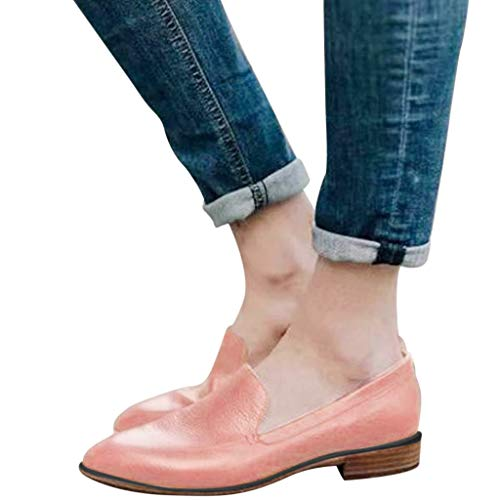 Sandalen Damen Freizeitschuhe Frauen Slip-On Lässige Slipper Britische Stil Lederschuhe mit Quadratische Ferse Outdoor Schuhe für Party, Freizeit & Sommer