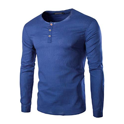 DNOQN Running Shirt Herren T Shirt Lange ärmel Mode Herren Nadel Zeigen Herbst Langarm Beiläufig Fit Baumwolle Round Top Bluse L