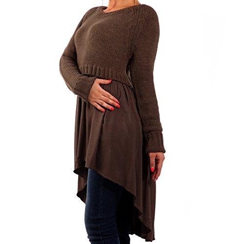 Damen Strickkleid Trendy Vokuhila-Kleid 34-40 Braun