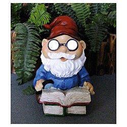 Outdoor Garden Solar Light Reading Gnome
