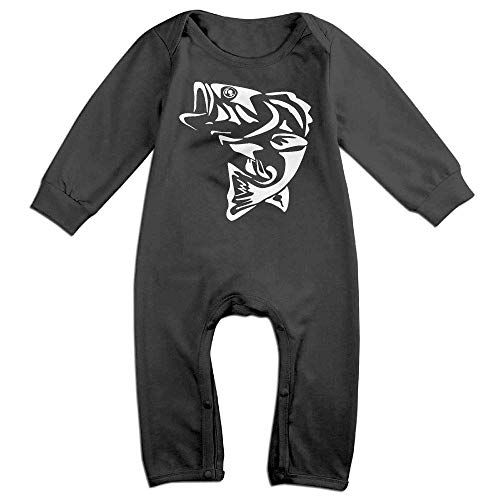 TOPDIY Bass Fishing Long Sleeve Baby Bodysuit Bodysuit -