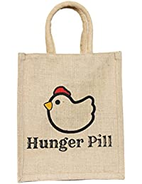 Deshi Decor Jute Multipurpose Lunch Bag with Zip (Red, 12x10x5-inches)