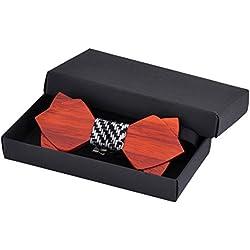 Hualing Hombres de madera de madera de esmoquin Partido de la boda Pajarita Tie Corbata Pajarita de madera (3 colores)