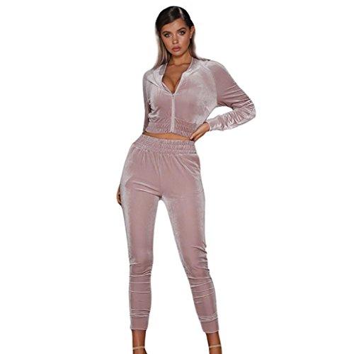 Mounter Damen-Pullover, Sweatshirt und Hose mit 2Set-aus Samt für Jogging Gym Sport Anzug [Top & Leggings Yoga Gym Wear-Set-Einstellbar, rose, Large -