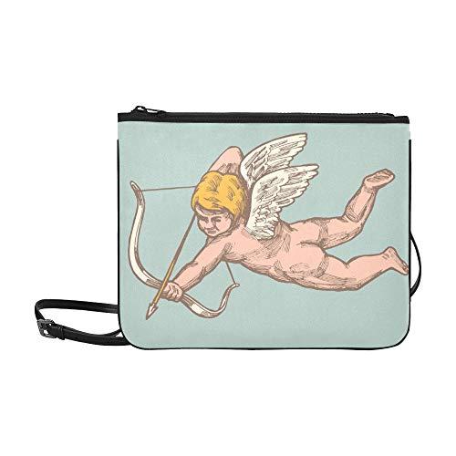 EIJODNL Lustiger Amor Charakter Mit Bogen Und Flügelmuster Benutzerdefinierte hochwertige Nylon Schlanke Handtasche Umhängetasche Umhängetasche -