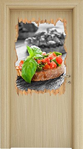 Leckere Tomaten Bruchetta schwarz/weiß Holzdurchbruch im 3D-Look , Wand- oder Türaufkleber Format: 92x62cm, Wandsticker, Wandtattoo, Wanddekoration