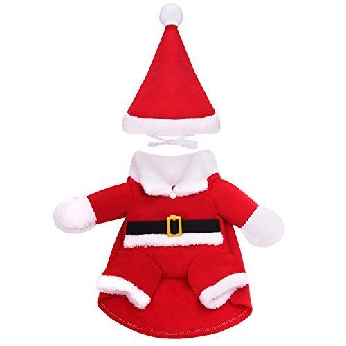 Pawaboo santa Hundekostüm, Halloween Verkleidung Kleid Cosplay Kostüme Plüschkleidung Allerheiligen Weihnachten Pullover Pulli Weste Hoodie Wintermantel mit Hut für Hund und Katze, Midium Größe, Rot