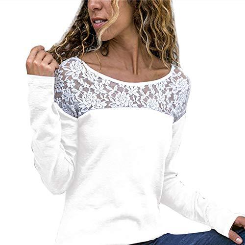 TIFIY Damen Beiläufig Spitze Patchwork Blumen Rüschen Kurzarm Sommer Niedlich Floral Shirt Lose Bluse Top Oktoberfest Herbst Kostüm Sweatshirt Weiß (XL, A_d1_Weiß)