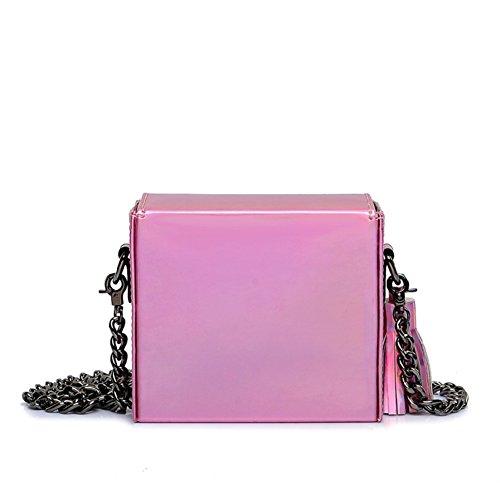 Petit sac en cuir verni en été et petit paquet/[petit paquet carré brillant]/Sac mini chaîne/Sac à bandoulière Messenger-B B