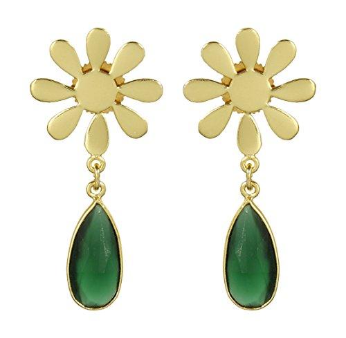 Muchmore marvellous dorato forma floreale boutique collection orecchini con pietre naturali di moda gioielli
