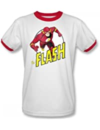 Das Flash-Flash-Run Run Adult Ringer Kurzarm T-Shirt in Weiß / Rot von DC Comics