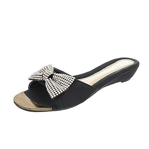 Pantoletten Damen-Schuhe Jazz & Modern Keilabsatz/ Wedge Strass Besetzte Ital-Design Sandalen / Sandaletten Schwarz, Gr 39,