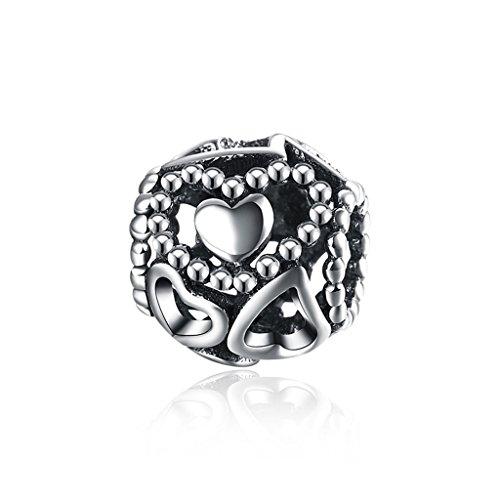 HMILYDYK encanto verdadero 925plata de ley hueca Love corazón cuentas para Pandora...